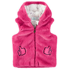 Gilet à capuche sans manches en fausse fourrure rose Minnie Disney