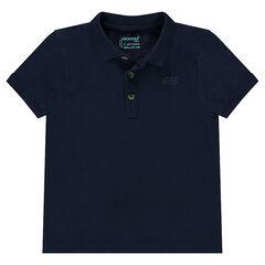 Polo uni en jersey slub avec logo printé