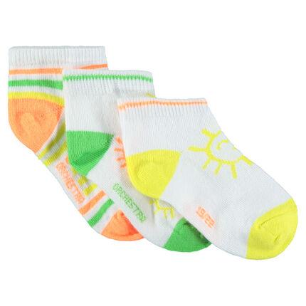 Lot de 3 paires de chaussettes courtes avec motifs colorés
