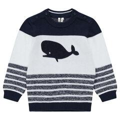 Pull en tricot avec rayures placées et baleine