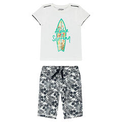 Ensemble avec tee-shirt print planche de surf et bermuda à fleurs all-over