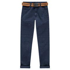 Junior - Pantalon en twill coupe slim avec ceinture amovible