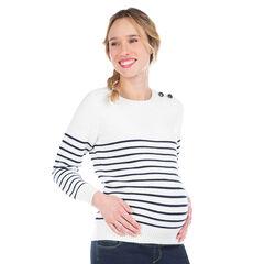 Marinière de grossesse en tricot avec rayures placées en jacquard