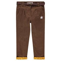 Pantalon en twill marron avec ceinture pailletée amovible