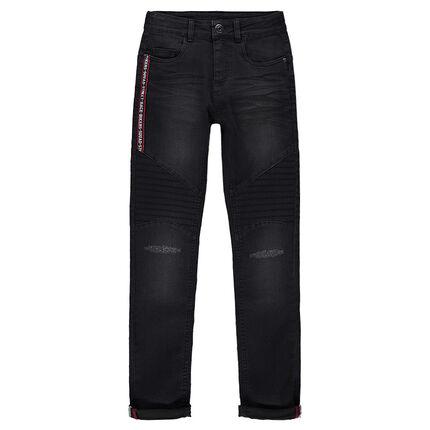 Junior - Jeans skinny effet used et crinkle avec bande appliquée