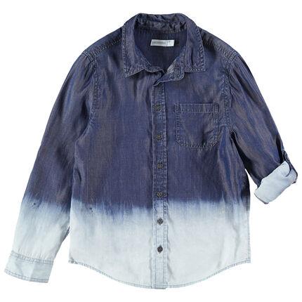 Junior - Chemise manches longues effet tie and dye avec poche