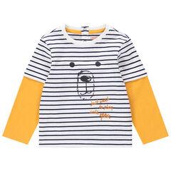 T-shirt manches longues effet 2 en 1 en coton bio avec ourson printé
