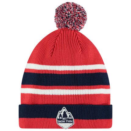Junior - Bonnet en tricot rouge doublé sherpa avec pompon