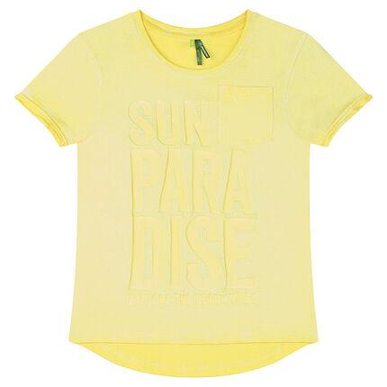 Junior - Tee-shirt manches courtes en jersey surteint avec inscription printée en relief
