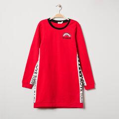 Junior - Robe en maille rouge à bandes imprimées
