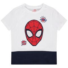 T-shirt manches courtes bicolore à broderie Spiderman