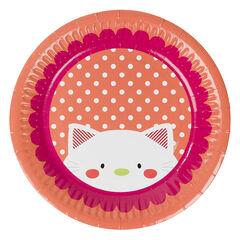 Lot de 10 assiettes anniversaire en carton motif chat , Prémaman