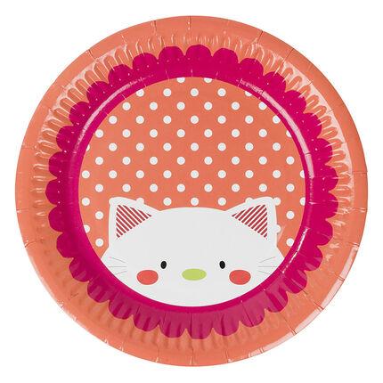 Lot de 10 assiettes anniversaire en carton motif chat