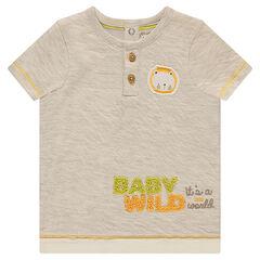 Tee-shirt manches courtes en double jersey avec lion patché
