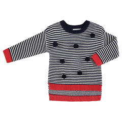 Pull en tricot avec rayures contrastées et pompons