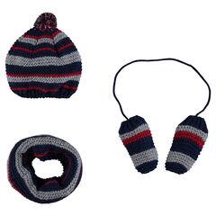 Ensemble bonnet écharpe et moufles en tricot mousse rayé