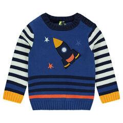 Pull en tricot avec fusée brodée