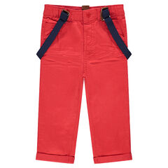 Pantalon en twill avec bretelles élastiquées amovibles