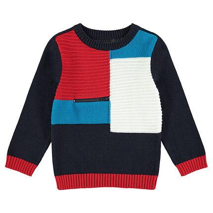 Pull en tricot avec contrastes et zip sur le devant