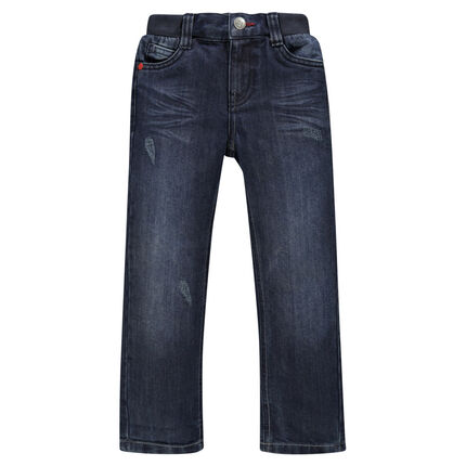 Junior - Jeans coupe droite effet used à taille élastiquée