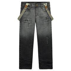 Jeans effet tie and dye avec bretelles amovibles