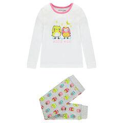 Pyjama long en coton print et imprimé chouettes fantaisie