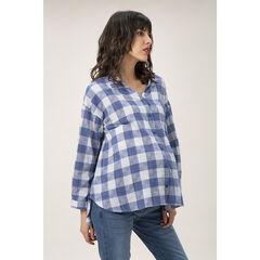 Chemise manches longues de grossesse à carreaux