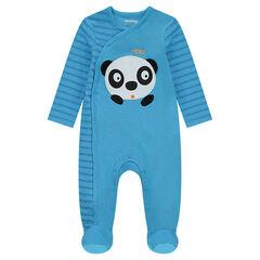 Dors-bien en jersey rayé avec panda en relief