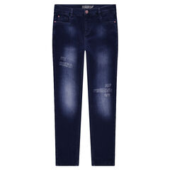 Junior - Jeans effet used avec fleurs brodées au dos