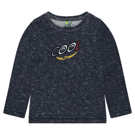 Tee-shirt manches longues en jersey fantaisie avec inscription brodée