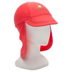 Casquette rouge nuque anti-UV SPF 50+ avec print fantaisie