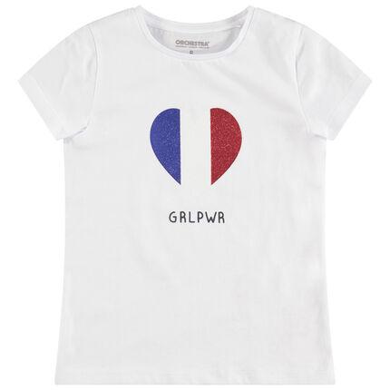 T-shirt manches courtes print coeur pailleté