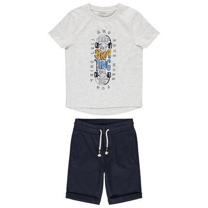 Ensemble avec t-shirt print skateboard et bermuda uni