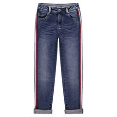 Junior - Jeans effet used et crinkle avec bandes contrastées sur les côtés