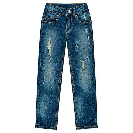 Jeans coupe slim effet used et crinkle avec usures fantaisie