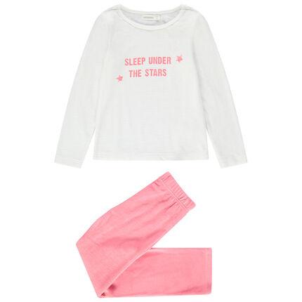 Pyjama en velours avec message printé et bas uni rose.