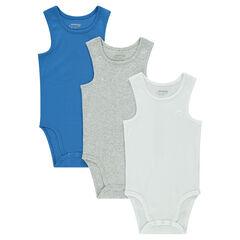 Lot de 3 bodies en jersey sans manches