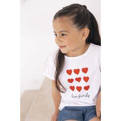"T-shirt manches courtes print coeurs et texte ""Love Family"" , Orchestra"