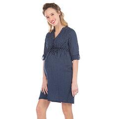 Robe de grossesse à pois all-over à manches rétractables