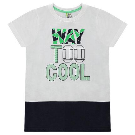 Tee-shirt manches courtes bicolore avec inscription printée