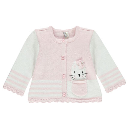 Gilet naissance en tricot et dentelle avec chat brodé