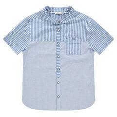 Junior - Chemise manches courtes à rayures placées et poche