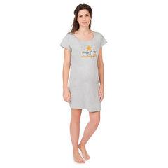 Maxi tee-shirt manches courtes homewear de grossesse avec print