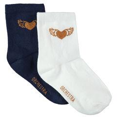 6896631ef02689 Junior - Lot de 2 paires de chaussettes unies avec coeur en jacquard doré