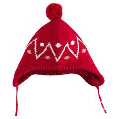 Bonnet péruvien en tricot motif jacquard avec pompon