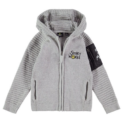 Gilet à capuche en tricot avec poche zippée et ©Smiley en bouclette
