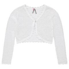 Junior - Gilet court en tricot ajouré