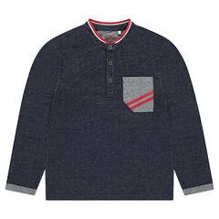 Polo en jersey fantaisie avec détails contrastés