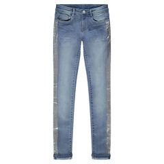 Junior - Jeans effet used coupe slim avec bandes argentées