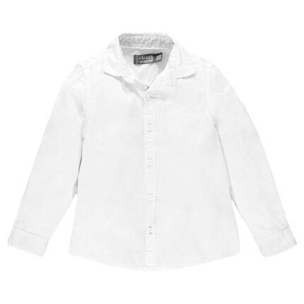 Junior - Chemise manches longues unie en coton